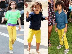 Mellow yellow! Hollywood kids are rocking the colored denim trend in sunny shades.
