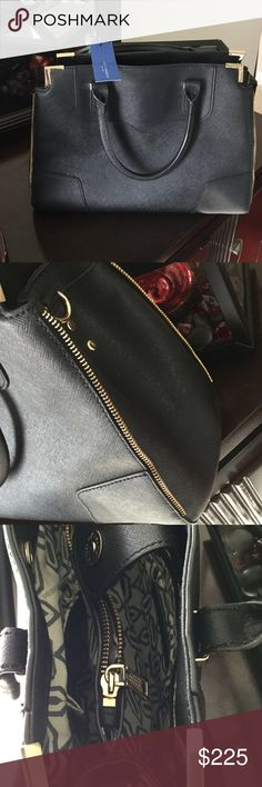 NWT Rebecca Minkoff Amorous Satchel Black Saffiano Beautiful structured bag. Zipper detail. No cross body strap. Four gold rectangular feet on bottom with scuffing from in store handling. Measures 13.5x9.75. Trade value higher Rebecca Minkoff Bags