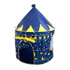 """Children Castle Play Tent Boys Girls Prince Princess Playhouse Indoor Outdoor House Blue Foldable Tent Toy Tent with Case (Blue) - EASY TO USE!GREAT FOR HOUSE INDOOR OUTDOOR USE. Opened: 41.3"""" x 41.3"""" x 53"""" Closed: 17""""? Very Durable Support Rods for Stability Lightweight Portable Zipper Carry Bag Easy & Compact Storage Pop-Up Setup PERFECT GIFT FOR YOUR LITTLE KIDS. Colorful and kids-friendly designed. Give your kids ..."""