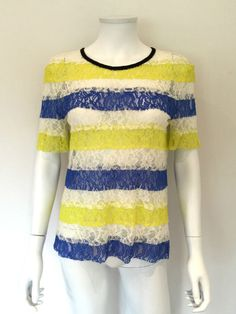 Sportmax Code Lace Striped Top / Yellow, White, Blue / RRP: £165.00