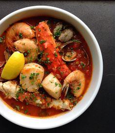 Spicy, robust, tomato-rich shellfish cioppino. #nourishedkitchen #nutrientsyoufools