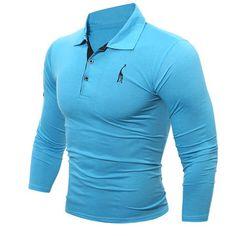 Mens Fashion Deer Embroidery Polo Shirt Turndown Collar Long Sleeve Spring Fall Casual T-shirt