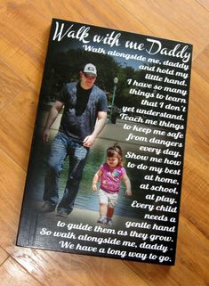 "Walk with me Daddy- Personalized PHoTO Giclee MoUNTED prints- custom made to order- 11"" x 17"" Father's Day Gift Waste Not Recycled Art"