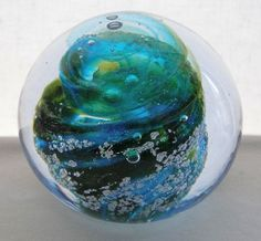 Incredibly GORGEOUS Signed NOUROT PAPERWEIGHT Glass NEW in BOX with STUDIO CARD