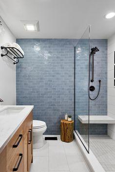 Modern Bathroom Paint, Bathroom Interior Design, Master Bathroom, Bathroom Feature Wall Tile, Wood Look Tile Bathroom, Scandinavian Bathroom Design Ideas, Shower Accent Tile, Glass Tile Bathroom, Shiplap Bathroom