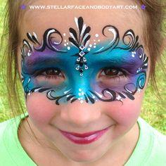 Face Paint Gem Mask by www.stellarfaceandbodyart.com