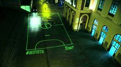 Wasn't quite sure where to put this Pin via @The Pop-Up City - Nike Launches On-Demand Laser Beam Street Football Pitch. Can you imagine what other pop up installations could happen like this? Chess boards, Snakes and ladders etc #IAP2