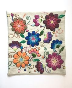 Blue embroidered Pillow cover,boho embroidered pillow,Hand embroidered flowers pillow 16 x pillow,floral pillow, peruvian textile Mexican Embroidery, Crewel Embroidery, Embroidery Designs, Peruvian Textiles, Floral Pillows, Decorative Pillow Cases, Embroidered Flowers, Hand Weaving, Crochet Patterns