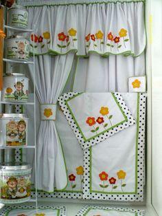 Cortina Cozinha Tema Flor