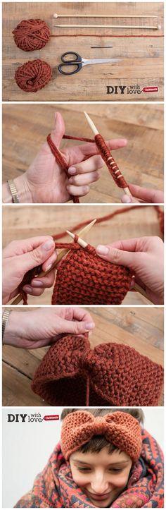 Una semplicissima fascia a maglia dritta con nodo centrale: il progetto ideale per i principianti del #knitting! http://it.dawanda.com/tutorial-fai-da-te/lavorare-maglia/come-fare-fascia-lana-nodo-maglia-dritta