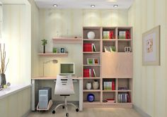 3D bedroom pink bookcase and desk