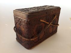 Antique Leather Composite Victorian Sewing Box with Contents Thimbles Bone | eBay