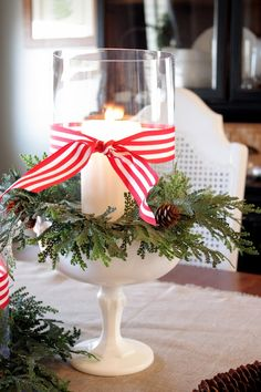 Christmas candle: you can get all supplies from the dollar store, do a little gluing with some glass glue, and boom basta done!