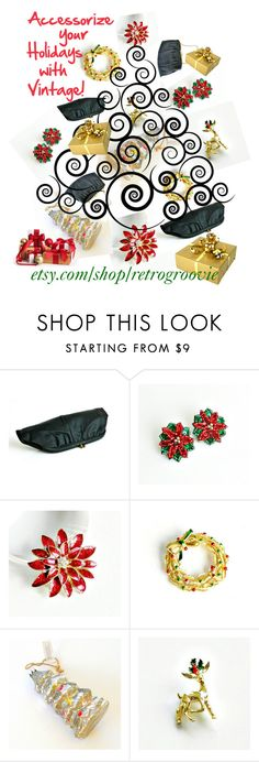 """Accessorize your Holidays with Vintage!"" by retrogroovie ❤ liked on Polyvore featuring vintage, giftideas, vintagejewelry, holidayaccessories, vintageaccessories and christmasjewelry"