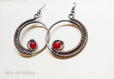 Round hoop wire wrapped earrings, red Jade earrings, oxidized copper wire / retro steampunk victorian jewelry, handmade wire wrapped jewelry