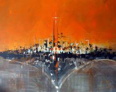 "100x80cm Acrylics - ""Urban Vibes #8 - Naranja Skyline"""
