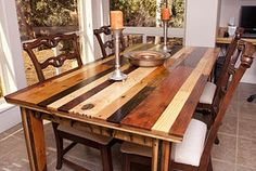 A beautifully made pallet wood dining room table! Just checkout the website for more details and products! (: