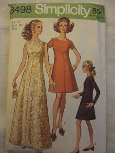 Vintage Sewing Pattern, 60s Gown, A Line Dresses, Midriff Interest,  Size 12 Bust 34 in, Simplicity 8498, Mad Men, Prom Formal by CatBazaar on Etsy