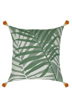 botanical cushion IDC / tropical leafy palms pillow / tassle cushion / on trend decor / hamptons style interior / beach decor