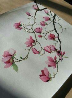 永生之酒 的涂鸦王国作品《玉兰》Saucer Magnolia like the one I have in southern Ontario in Canada.over 15 feet tall. Japanese Flower Tattoo, Japanese Flowers, Japanese Tattoos, China Painting, Fabric Painting, Painting Tips, Japanese Painting, Japanese Art, Japanese Sleeve