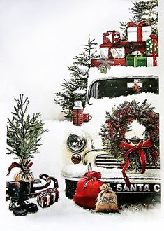 Christmas backgrounds for photo shoots. Size 90 x 15 . Christmas Feeling, Christmas Truck, Christmas Scenes, Noel Christmas, Christmas Greetings, Winter Christmas, Christmas Wreaths, Christmas Crafts, Christmas Decorations