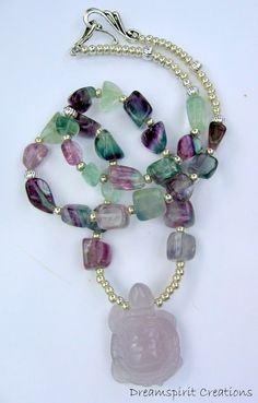 Native American Inspired Rainbow Fluorite Turtle Totem Necklace by DreamspiritCreations