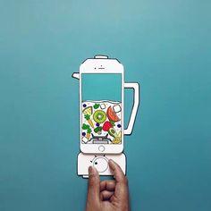 #南非视觉艺术家Anshuman Ghosh制作的脑洞插画,来告诉你iphone的隐藏功能# 榨汁机