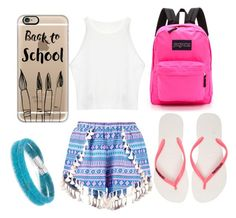 """""""Back to school"""" by annabelharper ❤ liked on Polyvore featuring Boohoo, JanSport, Havaianas, Casetify and Swarovski"""