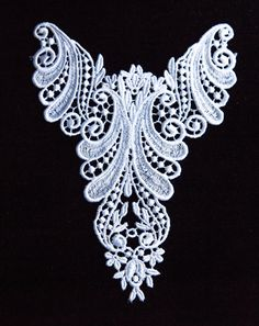 1 Vintage White Satin Lace  Applique. Floral and Curl Design. Lace Jewelry. Yokes.  Item 1181A