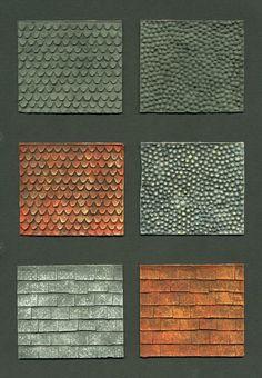 latex 'skin' samples samples of roof tiles Miniature Crafts, Miniature Houses, Vitrine Miniature, Wargaming Terrain, Train Layouts, Model Building, Book Nooks, Miniture Things, Fairy Houses