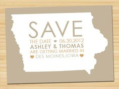 Save the Date. Iowa or any other location wedding. Available at: www.etsy.com/shop/styledbykristen #savethedate $15.00
