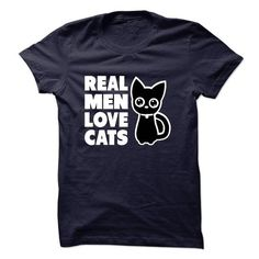 Real Men Love Cats T Shirts, Hoodies. Get it now ==► https://www.sunfrog.com/Pets/Real-Men-Love-Cats-16918645-Guys.html?41382