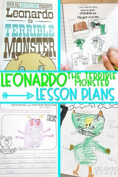 Leonardo the Terrible Monster reading comprehension lesson plans with student response activities. Print and teach lessons to engage your students in reading! #leonardotheterriblemonster #engagingreaders #readinglessonplans