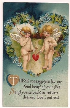 Beautiful Blue BB London Valentine with two cupid angels holding a heart #ValentinesDay