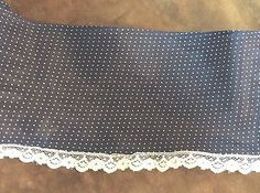 Navy Blue  Sheer with White Dots Trim  White Lace    4 inches wide   2 yard