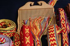 More Sámi woven bands which I wove using this lovely horse heddle from Vävkompaniet http://www.vavkompaniet.se/tools-for-textile-craft/heddles/