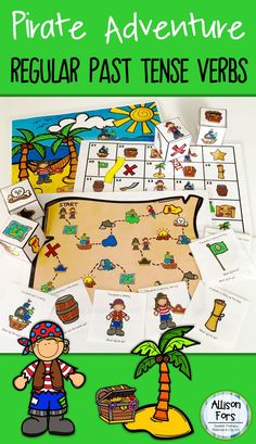 Go on a pirate adventure while learning regular past tense verbs! This packet includes different activities to reach a variety of learning needs and generalization.