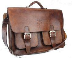 Vintage Style Distressed Leather Satchel Briefcase Handmade
