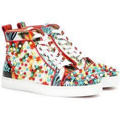Christian Louboutin Louis Orlato Embellished Leather High-Top Sneakers ($925) ❤ liked on Polyvore featuring shoes, sneakers, leather high top sneakers, multi colored sneakers, high top shoes, christian louboutin shoes and leather trainers