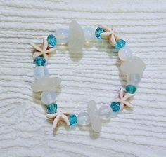 Sea glass and moonstone bracelet