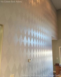 Modern Harlequin Stencil Walls with tone on tone paint - DIY stencils for painting accent walls from Royal Design Studio