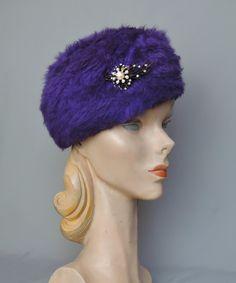1960s Super Plush Purple Wool Hat with Rhinestone Pin, 22 inch head - dandelionvintage