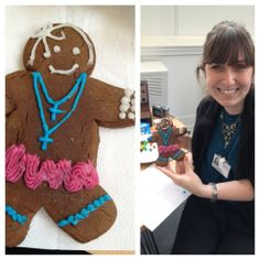 Stacy's gingerbread Madonna to match her fantastic Madonna outfit for the office party :)