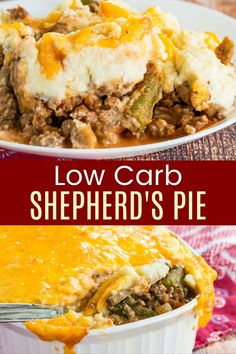 Low Carb Shepherd's Pie is the healthy comfort food recipe you need to make a delicious keto-friendly dinner. Saucy and savory ground beef, vegetables, and a cheesy cauliflower mash make this a cozy casserole the family will love! Wondering what to serve it with? Check out all of the Make it a Meal ideas from cupcakesandkalechips.com Low Carb Shepherds Pie, Keto Shepherd's Pie, Cheesy Mashed Cauliflower, Healthy Comfort Food, Healthy Eating, Bread Alternatives, Vegetable Casserole, Thing 1, Cheese Appetizers