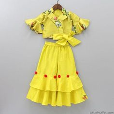 Pre Order: Yellow Top And Palazzo with red pompom Girls Frock Design, Baby Dress Design, Kids Frocks Design, Baby Girl Frocks, Frocks For Girls, Little Girl Dresses, Kids Indian Wear, Kids Ethnic Wear, Kids Dress Wear