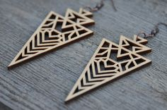 Geometric Laser Cut Wood Earrings by MoodWoodShop on Etsy