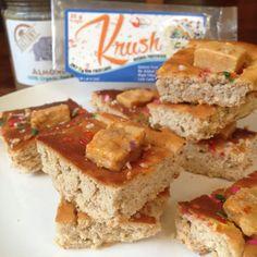 Birthday Cake Blondiies!  #glutenfree #eggfree Healthy Recipe made with Bday Cake @krushbars