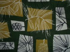 50s pine needles/cones barkcloth