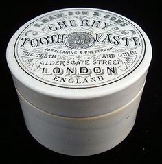 English Victorian Cherry Tooth Paste Pot and Lid 1880