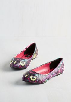 Close Encounters of the Bird Kind Flat. Pals will flock to catch a closer glimpse of these owl-printed flats! #purple #modcloth